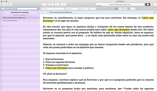 Como usar Scrivener buscador