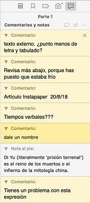 Como usar Scrivener el inspector comentarios