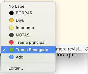 Como usar Scrivener el inspector etiquetas
