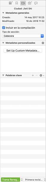 Como usar Scrivener el inspector metadatos