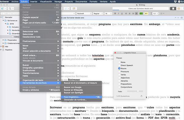 Como usar Scrivener foco lingüístico