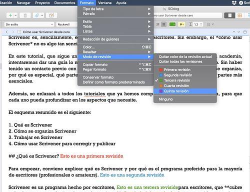 Como usar Scrivener modos de revisión
