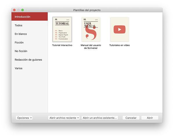 Como usar Scrivener pantalla inicial