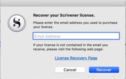 Licencia de Scrivener como recuperarla
