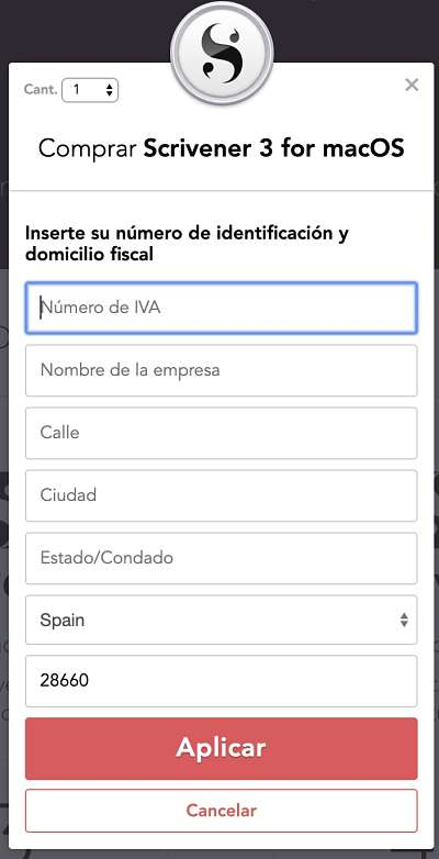Cómo comprar Scrivener séptimo paso: añadir número de IVA