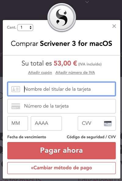 Cómo comprar Scrivener último paso: el pago
